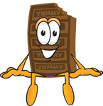 Clip Art Graphic of a Chocolate Candy Bar Mascot Character Sitting