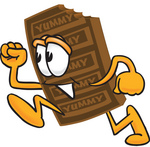 Clip Art Graphic of a Chocolate Candy Bar Mascot Character Running