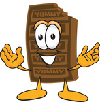 Clip Art Graphic of a Chocolate Candy Bar Mascot Character With Welcoming Open Arms