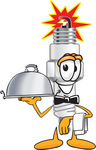 Clip Art Graphic of a Spark Plug Mascot Character Dressed as a Waiter and Holding a Serving Platter