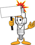 Clip Art Graphic of a Spark Plug Mascot Character Holding a Blank Sign