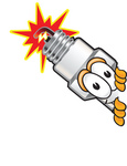 Clip Art Graphic of a Spark Plug Mascot Character Peeking Around a Corner