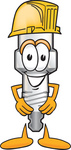 Clip Art Graphic of a Spark Plug Mascot Character Wearing a Hardhat Helmet