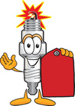 Clip Art Graphic of a Spark Plug Mascot Character Holding a Red Sales Price Tag