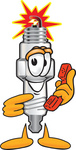 Clip Art Graphic of a Spark Plug Mascot Character Holding a Telephone