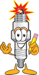 Clip Art Graphic of a Spark Plug Mascot Character Holding a Pencil