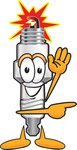 Clip Art Graphic of a Spark Plug Mascot Character Waving and Pointing