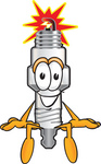 Clip Art Graphic of a Spark Plug Mascot Character Sitting