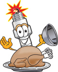 Clip Art Graphic of a Spark Plug Mascot Character Serving a Thanksgiving Turkey on a Platter