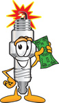 Clip Art Graphic of a Spark Plug Mascot Character Holding a Dollar Bill