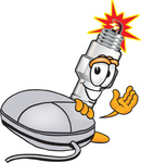 Clip Art Graphic of a Spark Plug Mascot Character With a Computer Mouse