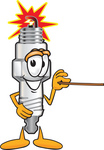 Clip Art Graphic of a Spark Plug Mascot Character Holding a Pointer Stick