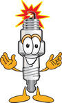 Clip Art Graphic of a Spark Plug Mascot Character With Welcoming Open Arms