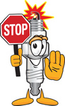 Clip Art Graphic of a Spark Plug Mascot Character Holding a Stop Sign