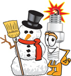 Clip Art Graphic of a Spark Plug Mascot Character With a Snowman on Christmas