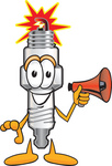 Clip Art Graphic of a Spark Plug Mascot Character Holding a Megaphone