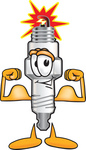 Clip Art Graphic of a Spark Plug Mascot Character Flexing His Arm Muscles