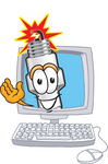 Clip Art Graphic of a Spark Plug Mascot Character Waving From Inside a Computer Screen