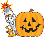 Clip Art Graphic of a Spark Plug Mascot Character With a Carved Halloween Pumpkin