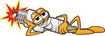 Clip Art Graphic of a Spark Plug Mascot Character Resting His Head on His Hand