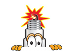 Clip Art Graphic of a Spark Plug Mascot Character Peeking Over a Surface