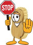 Clip Art Graphic of a Scrub Brush Mascot Character Holding a Stop Sign