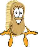 Clip Art Graphic of a Scrub Brush Mascot Character Sitting