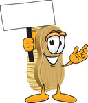 Clip Art Graphic of a Scrub Brush Mascot Character Waving a Blank White Advertising Sign