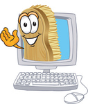Clip Art Graphic of a Scrub Brush Mascot Character Waving From Inside a Computer Screen