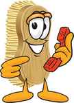 Clip Art Graphic of a Scrub Brush Mascot Character Holding and Pointing to a Red Phone