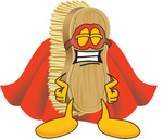 Clip Art Graphic of a Scrub Brush Mascot Character Dressed as a Super Hero