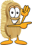 Clip Art Graphic of a Scrub Brush Mascot Character Waving and Pointing to the Right