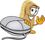 Clip Art Graphic of a Scrub Brush Mascot Character Waving and Standing by a Computer Mouse