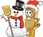 Clip Art Graphic of a Scrub Brush Mascot Character Wearing a Santa Hat and Standing With a Snowman