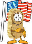 Clip Art Graphic of a Scrub Brush Mascot Character Pledging Allegiance to the American Flag