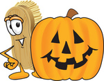 Clip Art Graphic of a Scrub Brush Mascot Character Standing by a Carved Halloween Pumpkin