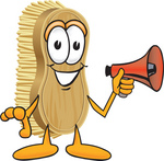 Clip Art Graphic of a Scrub Brush Mascot Character Holding a Red Megaphone Bullhorn