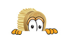 Clip Art Graphic of a Scrub Brush Mascot Character Peeking Over a Surface