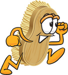 Clip Art Graphic of a Scrub Brush Mascot Character Running