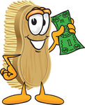 Clip Art Graphic of a Scrub Brush Mascot Character Waving Cash in the Air