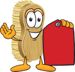 Clip Art Graphic of a Scrub Brush Mascot Character Holding a Red Sales Price Tag