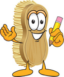 Clip Art Graphic of a Scrub Brush Mascot Character Holding a Pencil