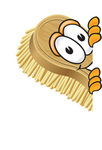 Clip Art Graphic of a Scrub Brush Mascot Character Peeking Around a Corner