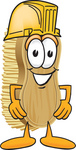 Clip Art Graphic of a Scrub Brush Mascot Character Wearing a Yellow Hardhat Helmet