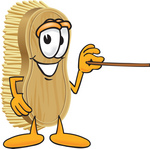 Clip Art Graphic of a Scrub Brush Mascot Character Using a Pointer Stick to Point to the Right