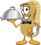 Clip Art Graphic of a Scrub Brush Mascot Character Serving a Dinner Platter While Waiting Tables