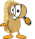 Clip Art Graphic of a Scrub Brush Mascot Character Looking Through a Magnifying Glass