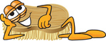 Clip Art Graphic of a Scrub Brush Mascot Character Lying on His Side and Resting His Head on His Hand