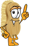 Clip Art Graphic of a Scrub Brush Mascot Character Pointing Upwards