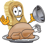 Clip Art Graphic of a Scrub Brush Mascot Character Serving a Cooked Thanksgiving Turkey on a Platter